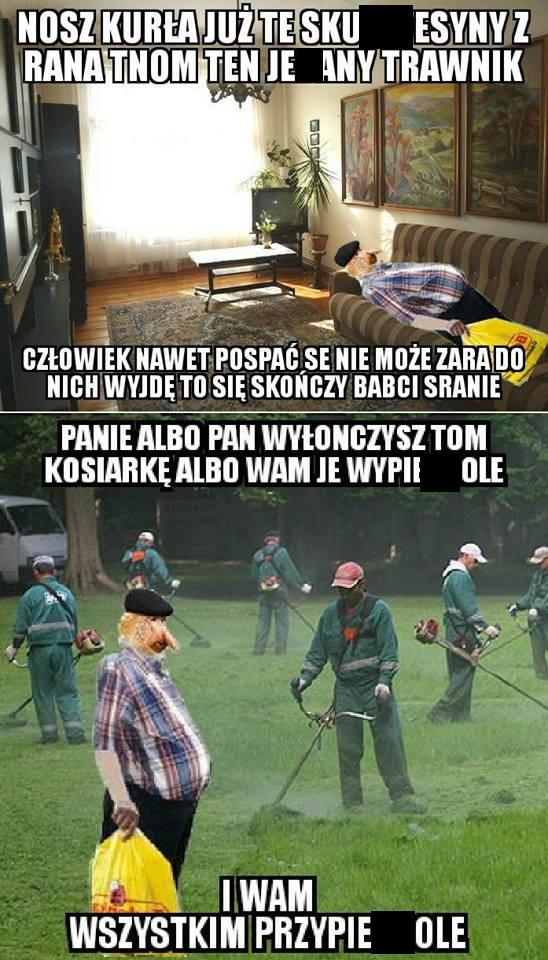 Janusz i poranne koszenie trawy