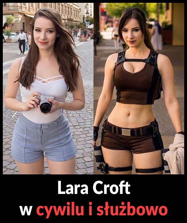 Lara Croft w cywilu i służbowo