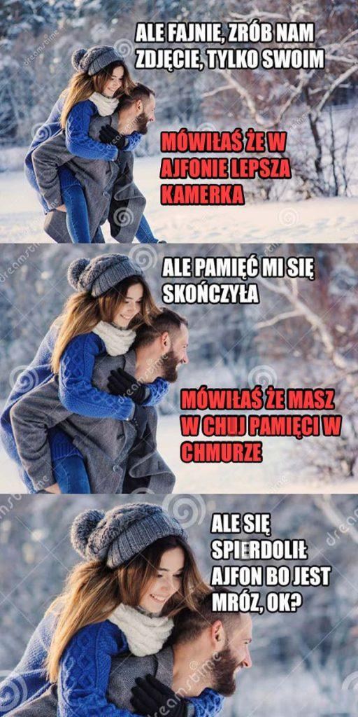 Ajfony zimą xD