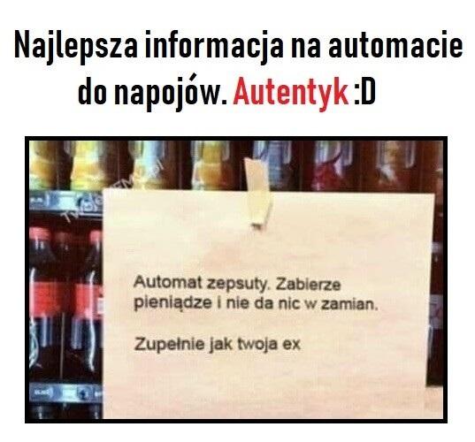 Najlepsza informacja na automacie do napojów