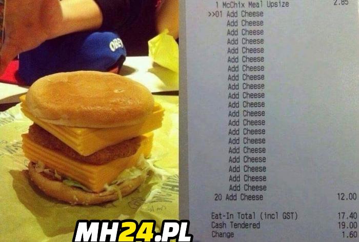 Koleś zamówił burgera z 20 porcjami sera xD