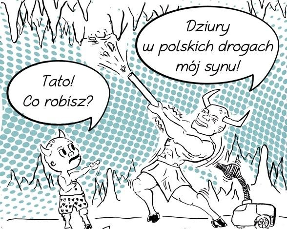 Komiks o dziurach w drogach