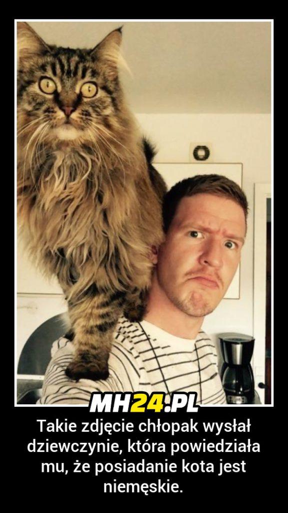 Takie zdjęcie chłopak wysłał dziewczynie która powiedziała mu że posiadanie kota jest niemęskie
