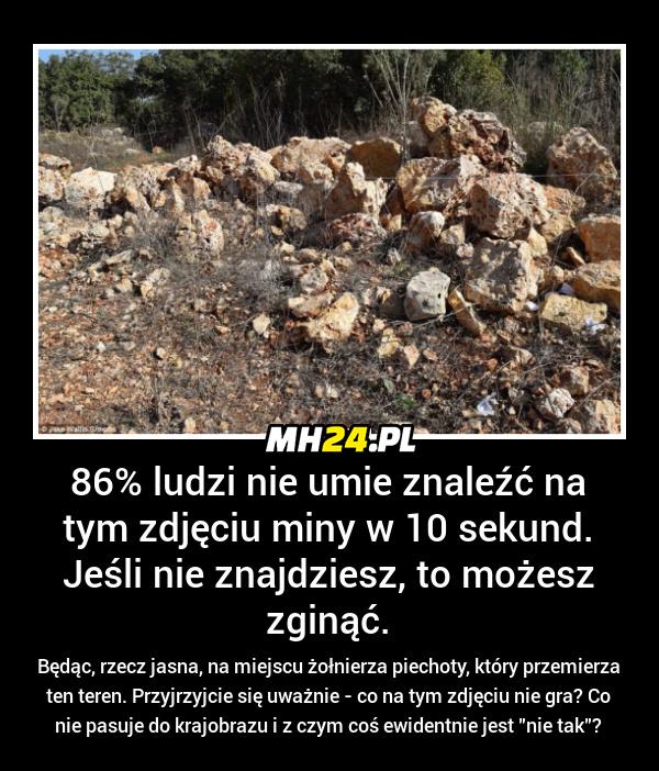86 procent ludzi nie umie znaleźć na tym zdjęciu miny