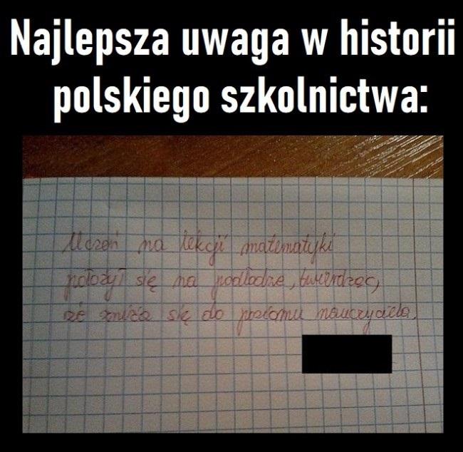 Najlepsza uwaga w historii polskiego szkolnictwa